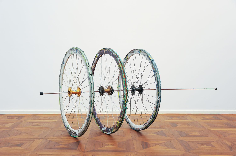 Hings Lim - Three Bicycle Wheels, 2016 [155x64x64cm] acrylic paint, bicycle wheel, stainless steel